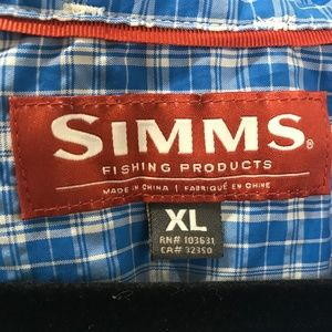 Simms Shirts - Simms Blue Plaid Nylon Lightweight Fishing Shirt